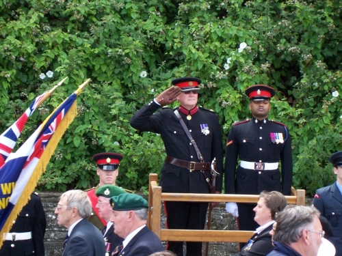 Armed Forces Day 2011, Salute taken by senior officer and VC McHarry. Ted Sandle in parade with Royal Marine veterans.