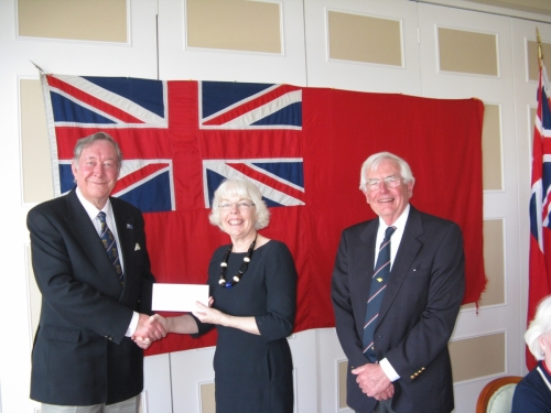 AGM 2014,  Georgie Hibberd presenting  Federation of Merchant  Mariners donation to Derek Bristow, Robin Ebsworth, Chairman.
