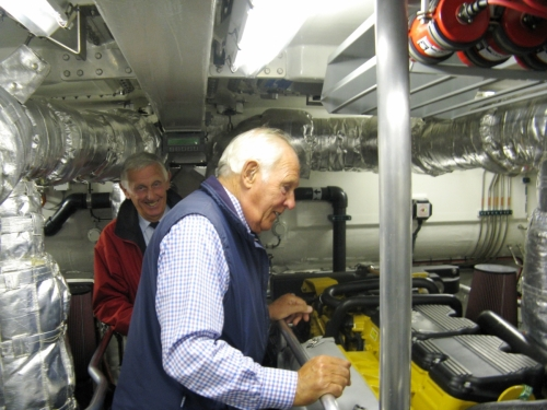 Awayday visit to Bembridge Lifeboat,  2011. Hedley brothers looking at engine.