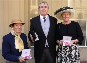 Graham Hall with two other recipients of the MBE at Buckingham Palace - Royal Birthday Honours 2011.
