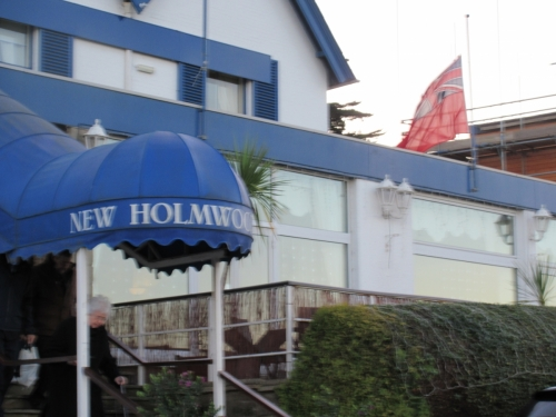 New Holmwood Hotel with Red Ensign at half-mast to honour Richard Carpenter, December 2017