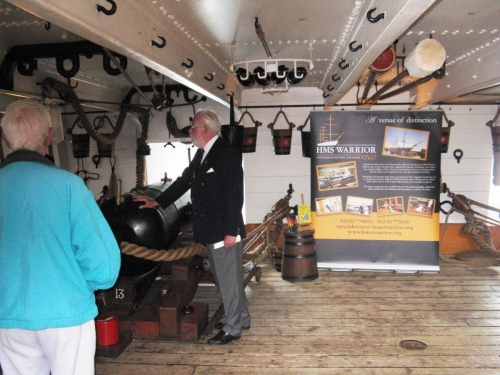 HMS WARRIOR Visit July 2013, Mike North giving tour.