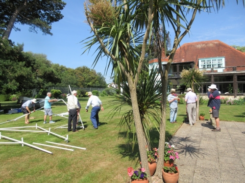 Erecting marquee prior to the 2017 Garden Party